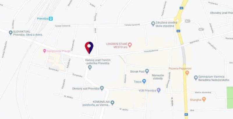 mapa Centro Prievidza