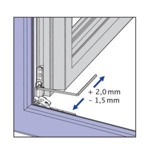 Skryté pánty okna - bočné nastavenie na krídlovom závese