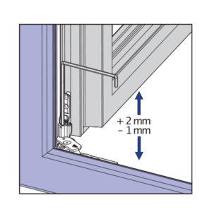 Skryté pánty okna - výškové nastavenie na krídlovom závese