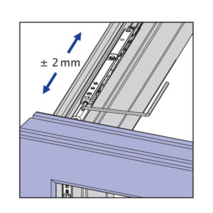Skryté pánty okna - bočné nastavenie na nožnici kovania