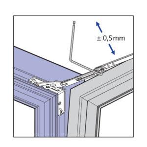 Skryté pánty okna - nastavenie prítlaku na nožnici
