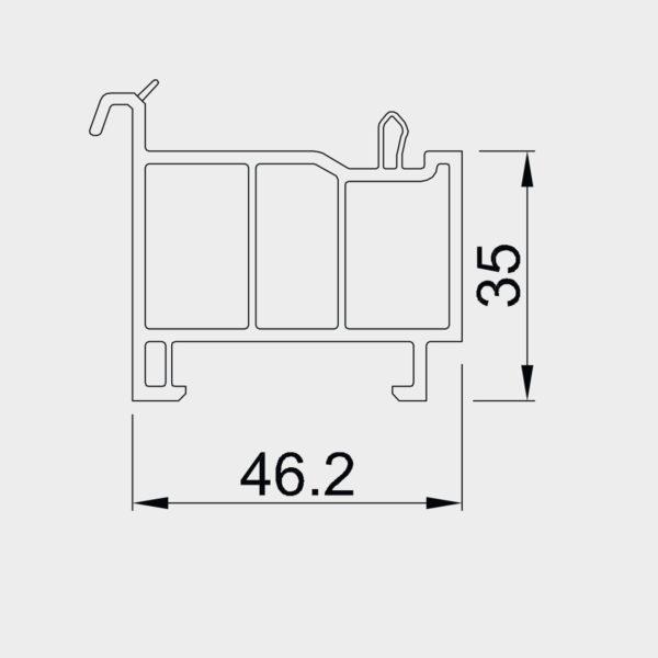 Parapetný profil pre okno OPTIM - štandardný