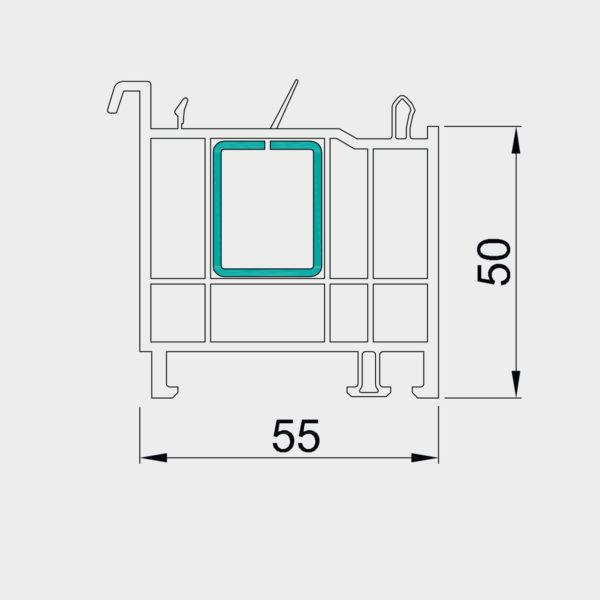 Parapetný profil pre okno OPTIM 50 mm 50 mm - s oceľovou výstuhou