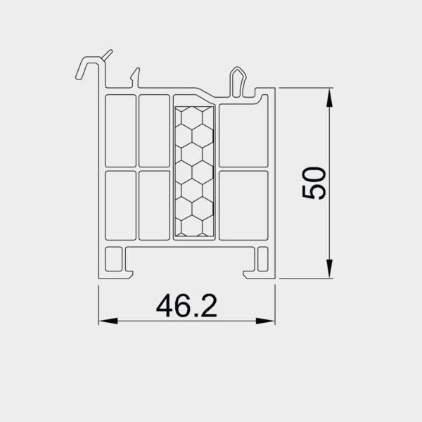 Parapetný profil pre okno OPTIM 50 mm - tepelne izolovaný