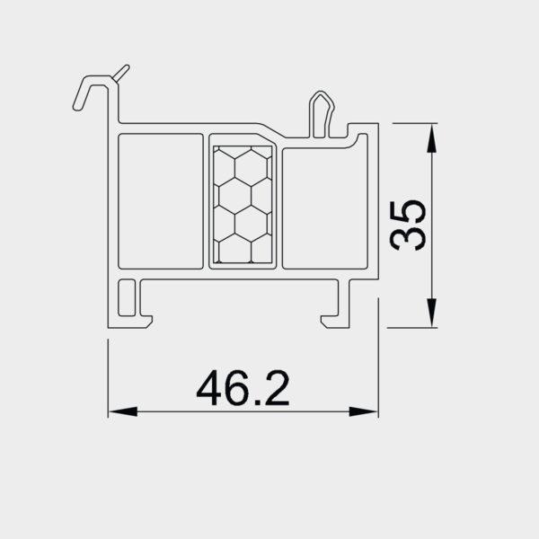 Parapetný profil pre okno OPTIM 35 mm - tepelne izolovaný